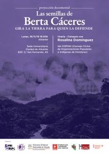 """Alicante: Documental """"Las semillas de Berta Cáceres"""" + Coloquio con Rosalina Domínguez* (COPINH-Honduras) @ Sede Universitaria Ciudad de Alicante"""